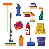 Cleaning service. Set house  tools icons logo isolated on white