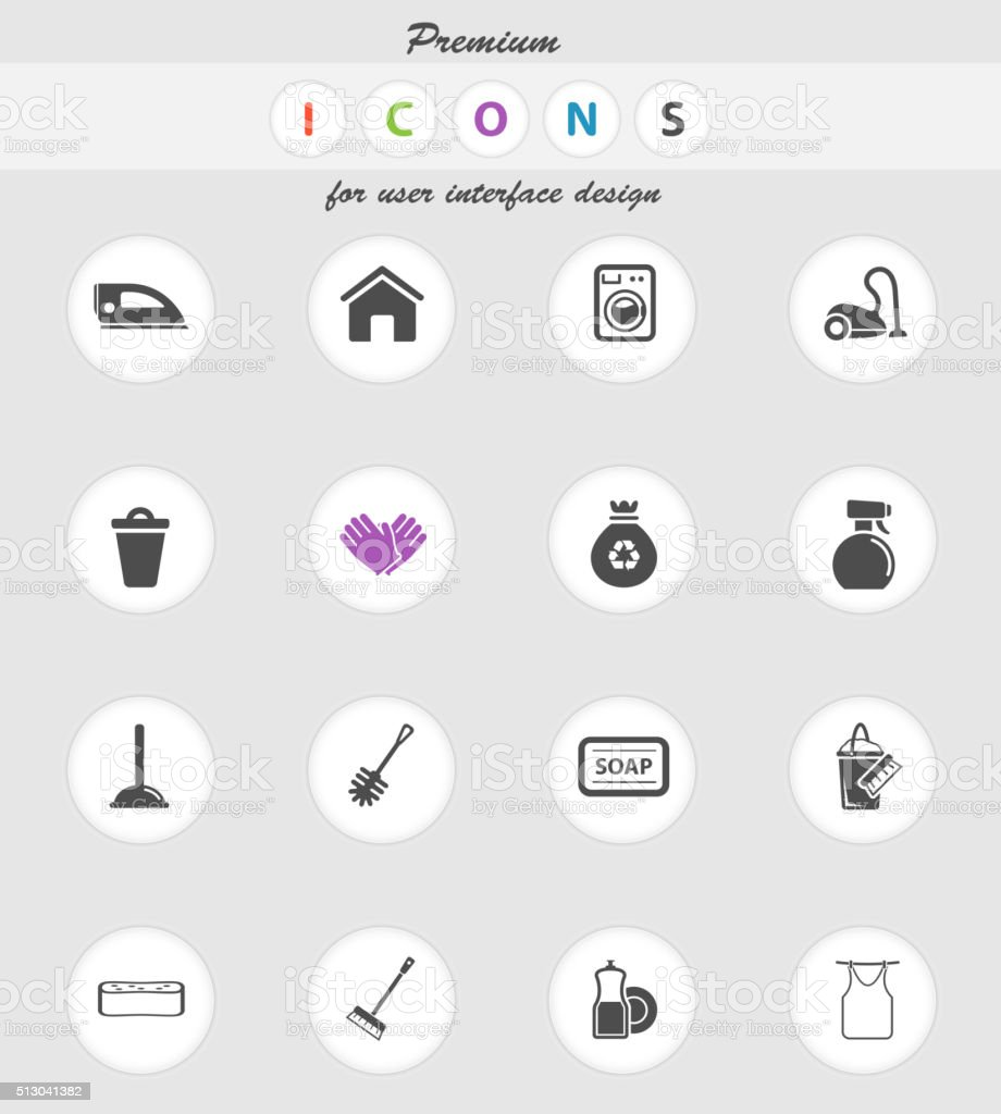 Cleaning service simply icons vector art illustration
