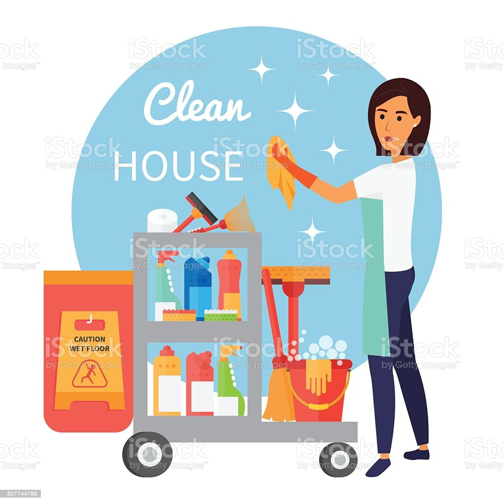 Cleaning service staff, janitor with trolley full of supplies and vector art illustration