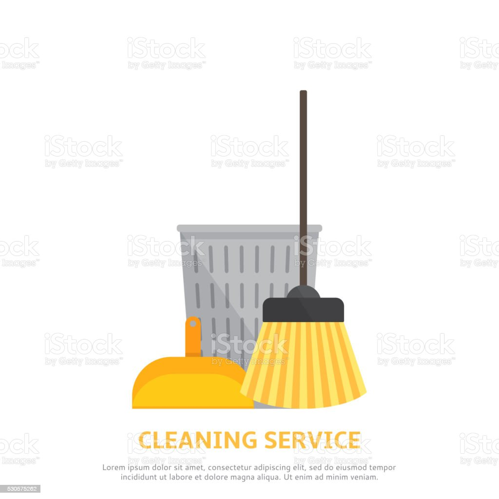 Cleaning service web background  in flat style royalty-free stock vector art