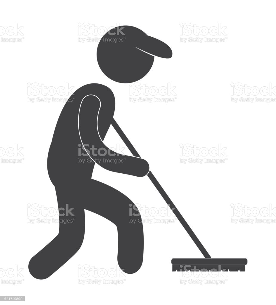 cleaning service worker pictogram icon image vector art illustration