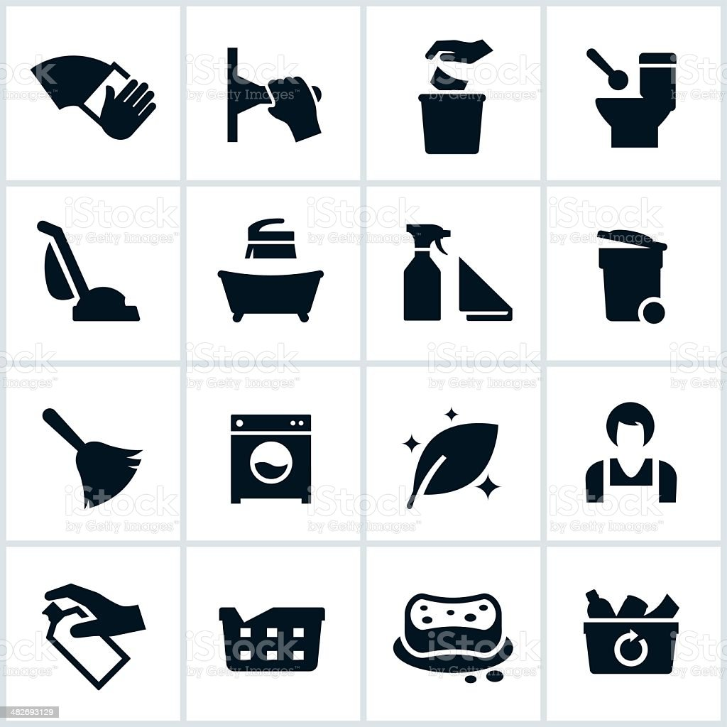 Cleaning Services Icons vector art illustration