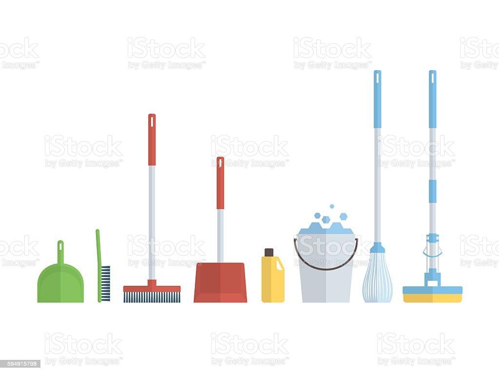 Cleaning set, isolate, flat design vector art illustration