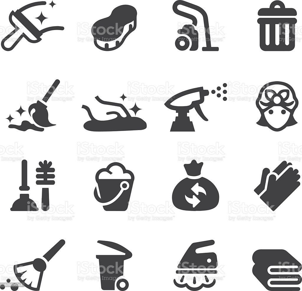 Cleaning Silhouette Icons   EPS10 vector art illustration