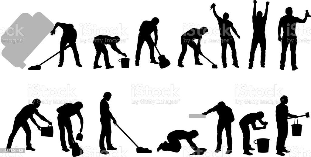 cleaning silhouettes black vector art illustration