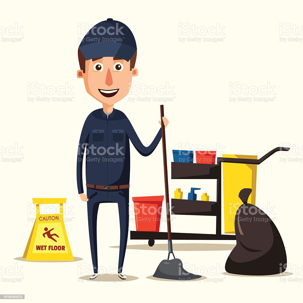 Cleaning staff character with equipment. Cartoon vector illustration. vector art illustration