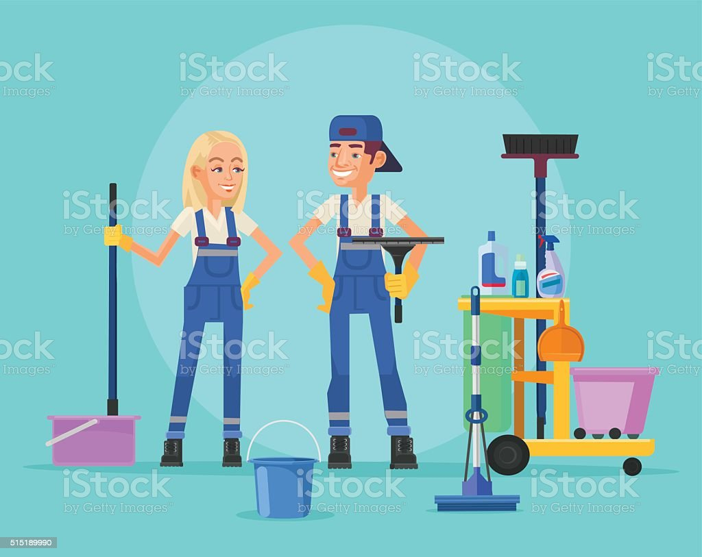 Cleaning staff. Vector flat illustration vector art illustration