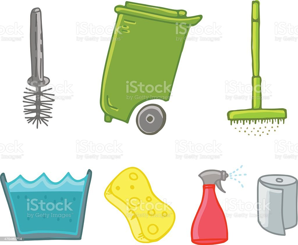 Cleaning stuff icons vector art illustration