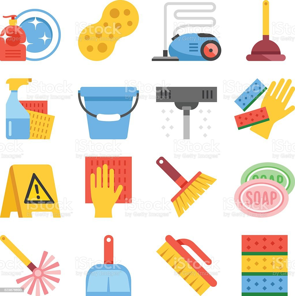 Cleaning tools and cleaning equipment flat icons set vector art illustration