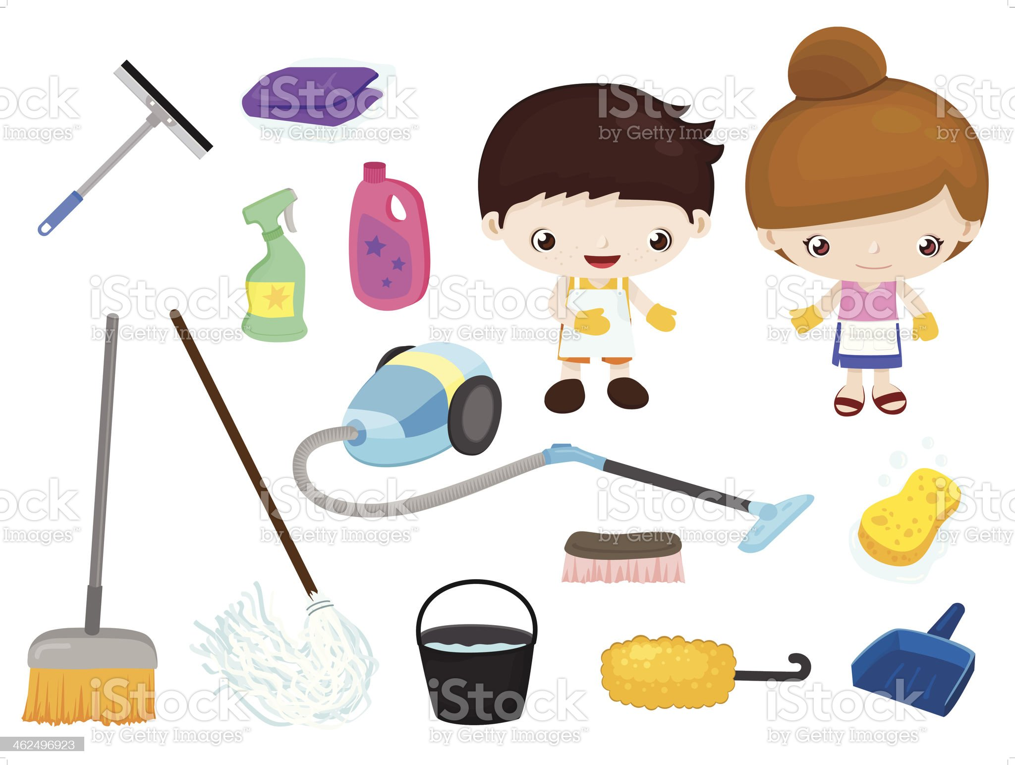 Cleaning tools - kids set royalty-free stock vector art