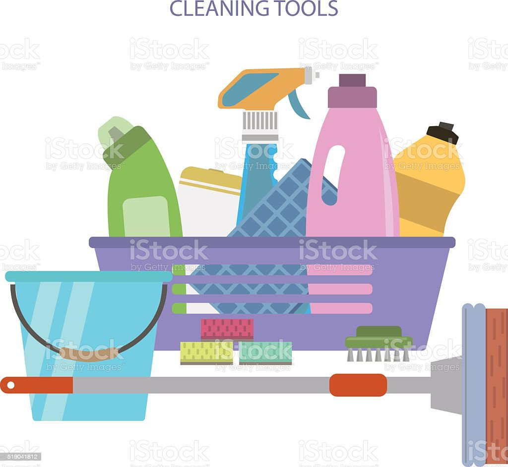 Cleaning tools vector art illustration