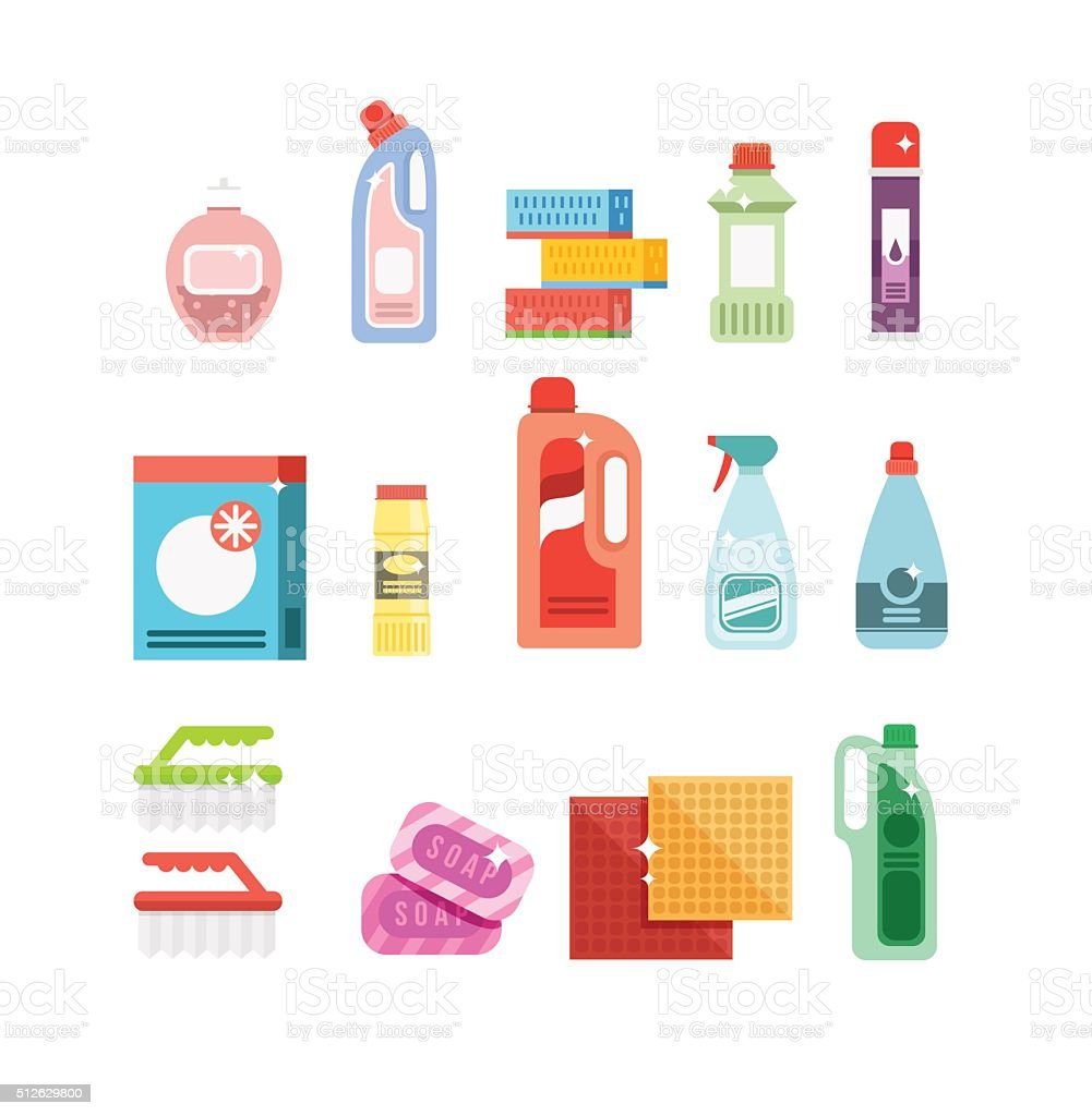 Cleaning tools vector set. Detergents for cleaning home or hotel vector art illustration