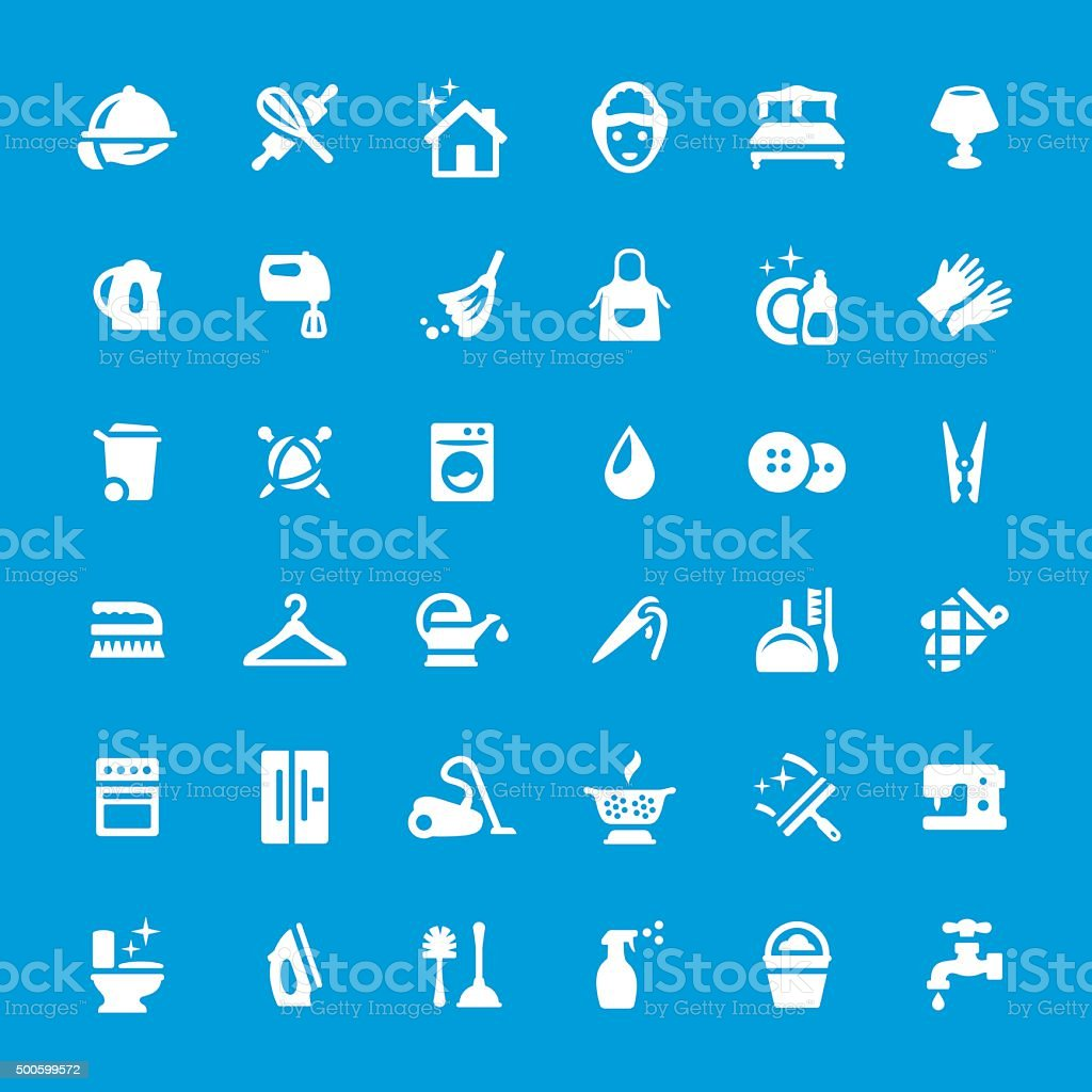 Cleaning vector icons set vector art illustration