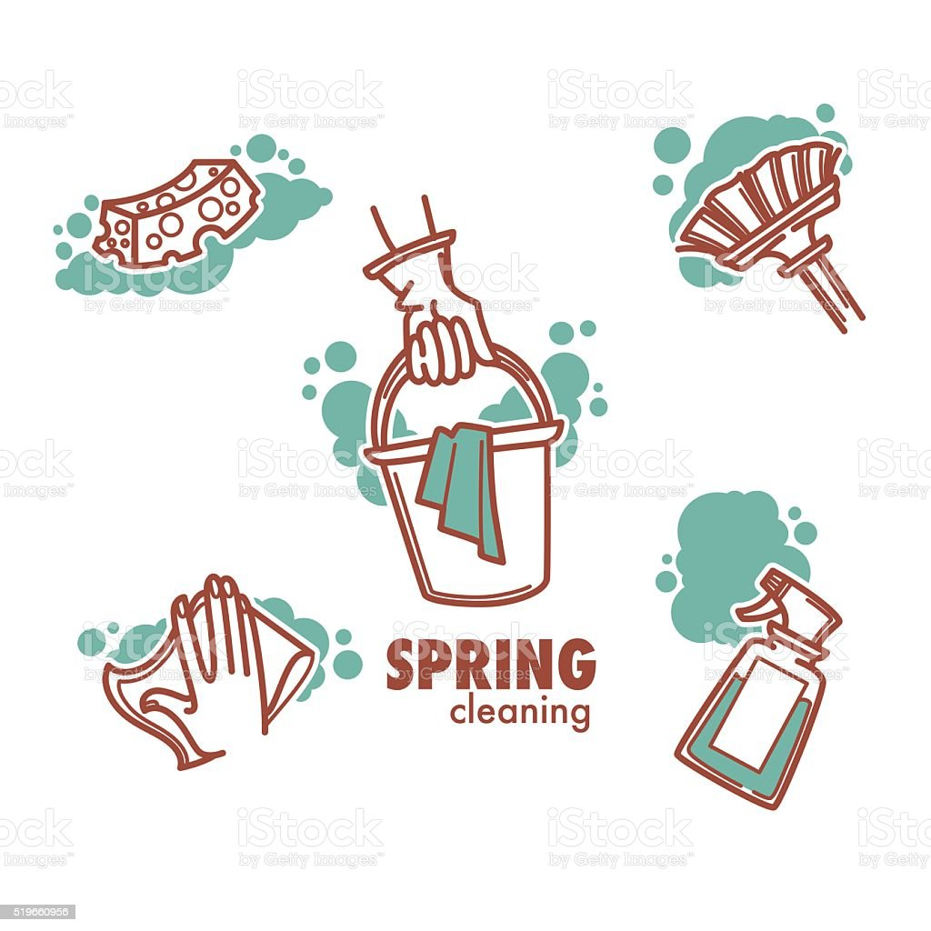 cleaning, washing, sweeping and chamber work vector art illustration