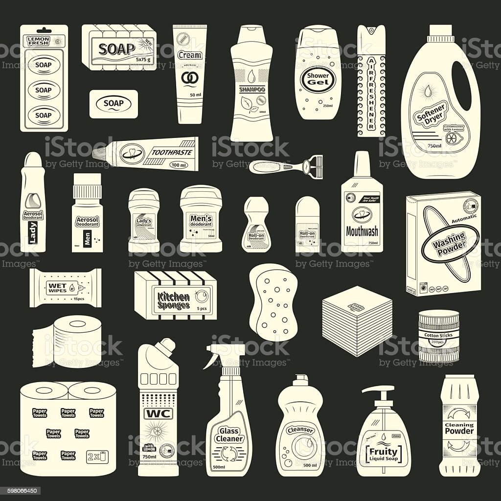 Cleanser and washing icons set vector art illustration