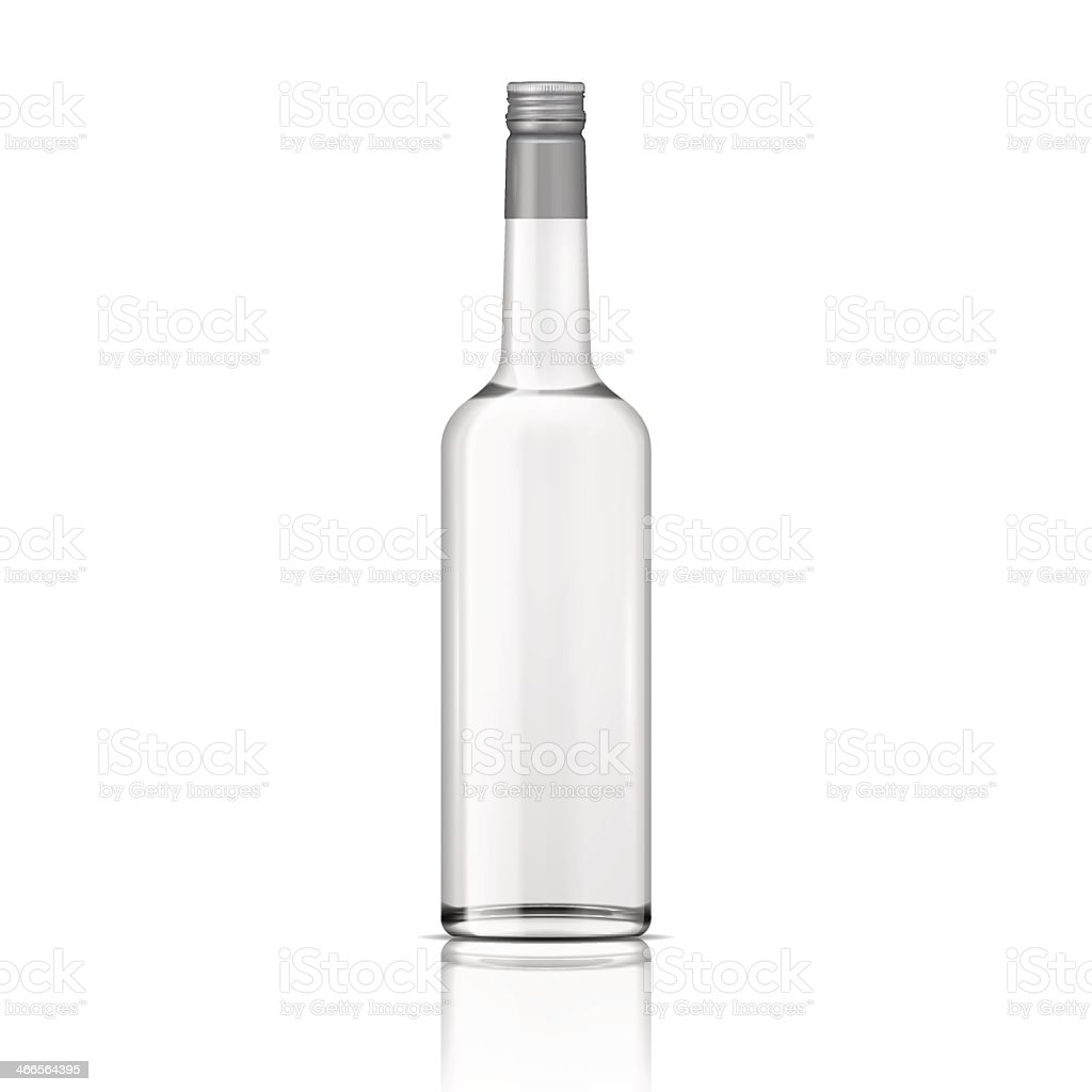 Clear glass vodka bottle with a screw cap vector art illustration