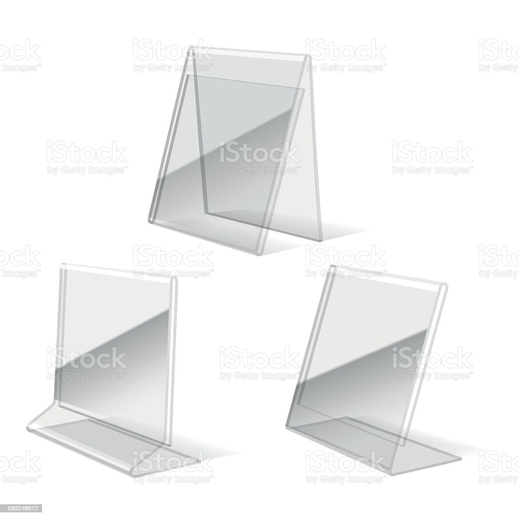 Clear plastic holder icons vector art illustration