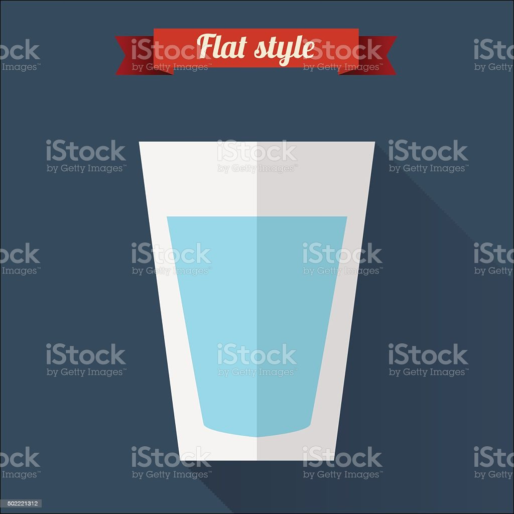 Clear water flat icon with long shadow. vector art illustration