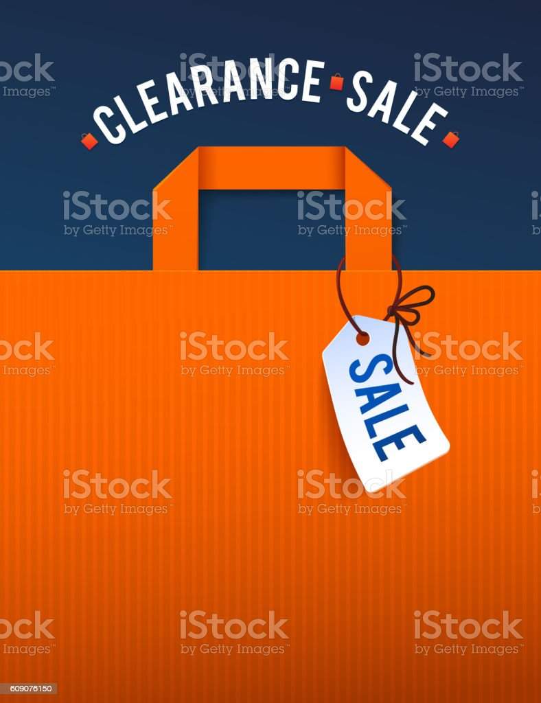 Clearance Sale Poster with percent discount. Illustration of paper shopping vector art illustration
