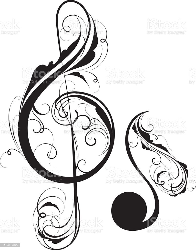 Clef and note vector art illustration