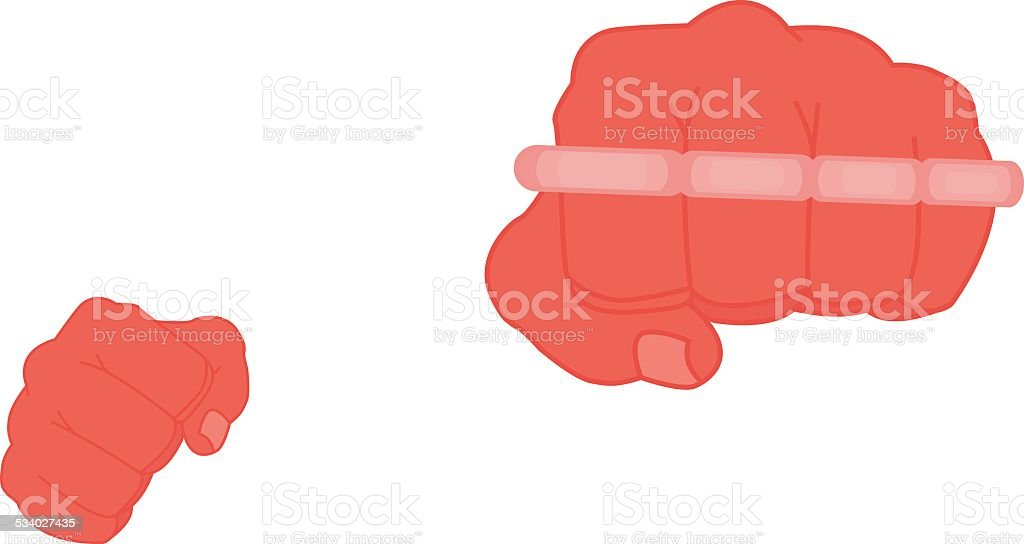 Clenched african american man fists holding brass-knuckle. Punching. Color vector art illustration