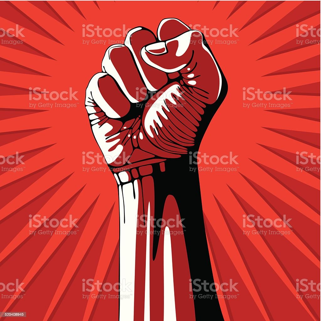 Clenched fist held high in protest. vector art illustration