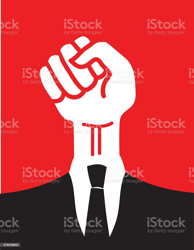 Clenched Fist in a Suit vector art illustration