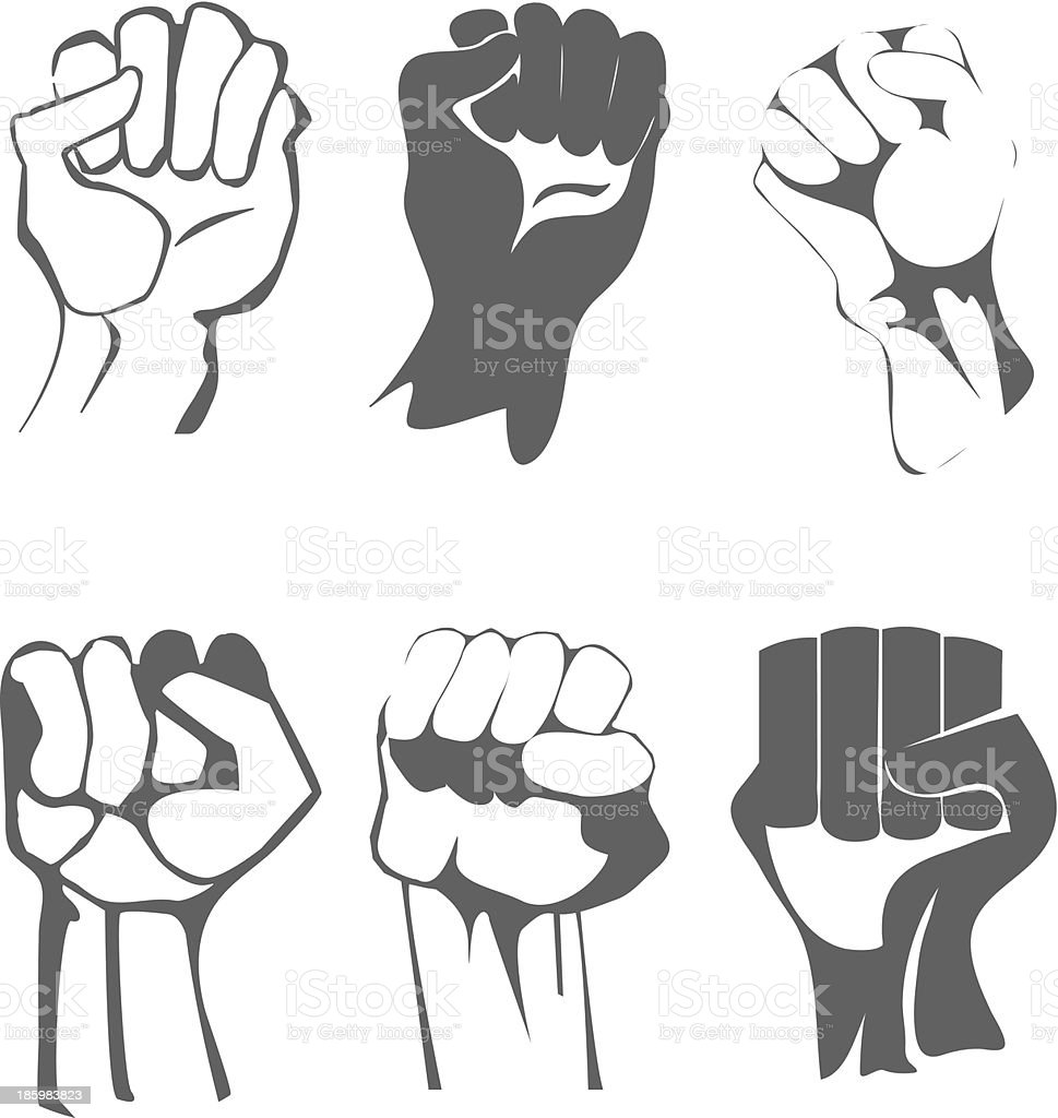 clenched fist set royalty-free stock vector art