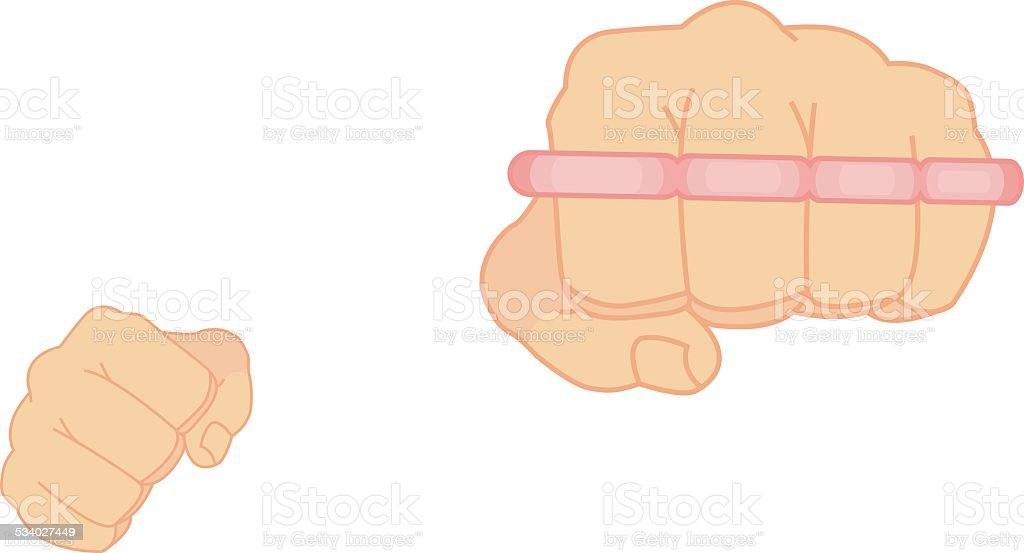 Clenched man fists holding brass-knuckle. Punching. Color vector art illustration