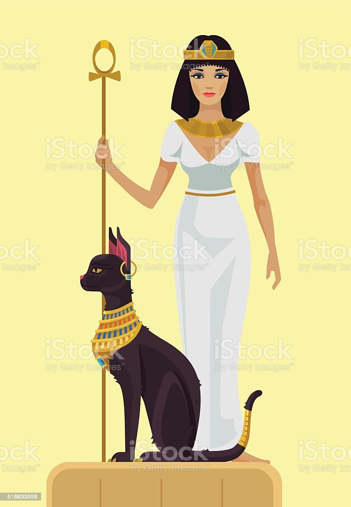 Cleopatra and black cat. Vector flat illustration vector art illustration