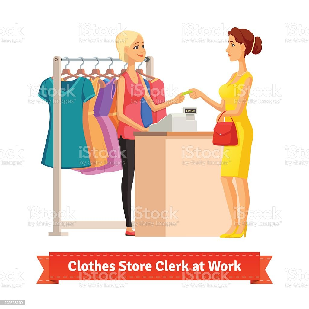 Clerk taking credit card payment from pretty woman vector art illustration