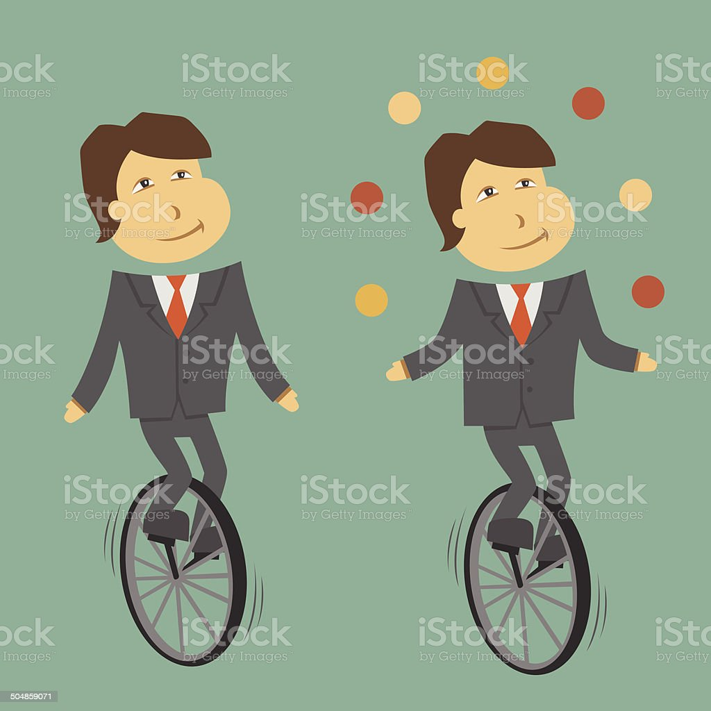 clerk_unicycle vector art illustration