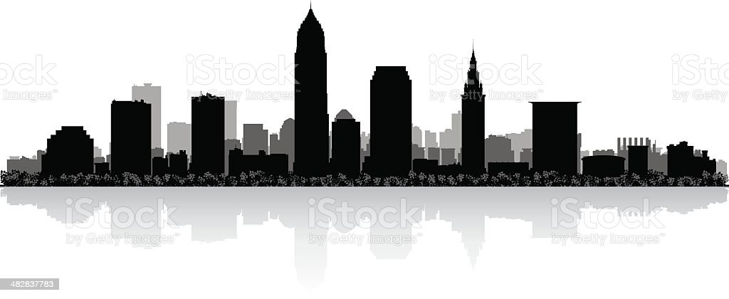 Cleveland city skyline silhouette vector art illustration