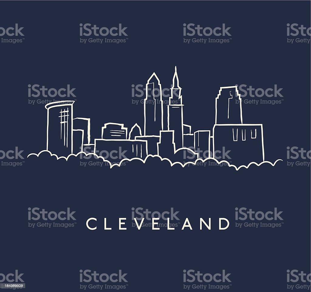 Cleveland Skyline Sketch vector art illustration