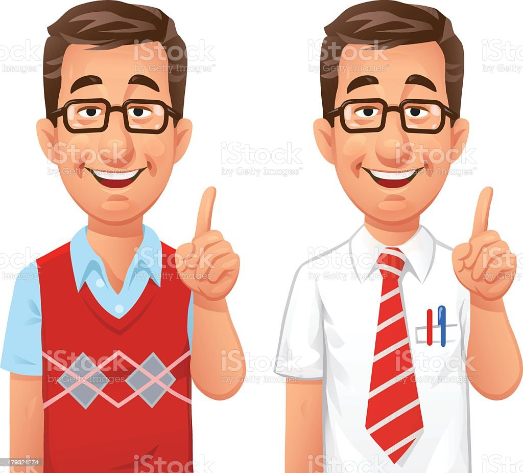 Clever Guy Giving Advice vector art illustration
