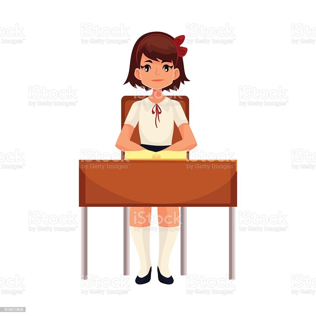 Clever school girl sitting at the desk with open book vector art illustration