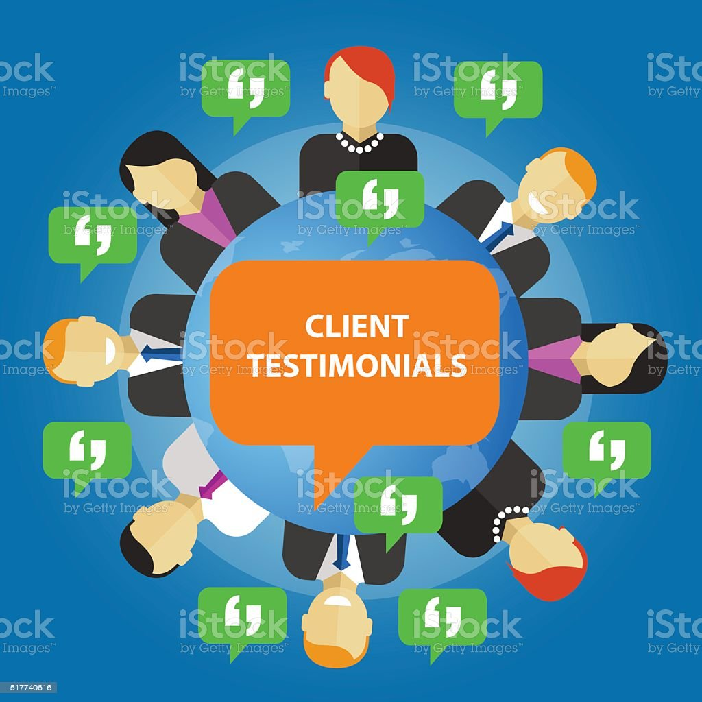 client testimonials consumer feedback service opinion vector art illustration