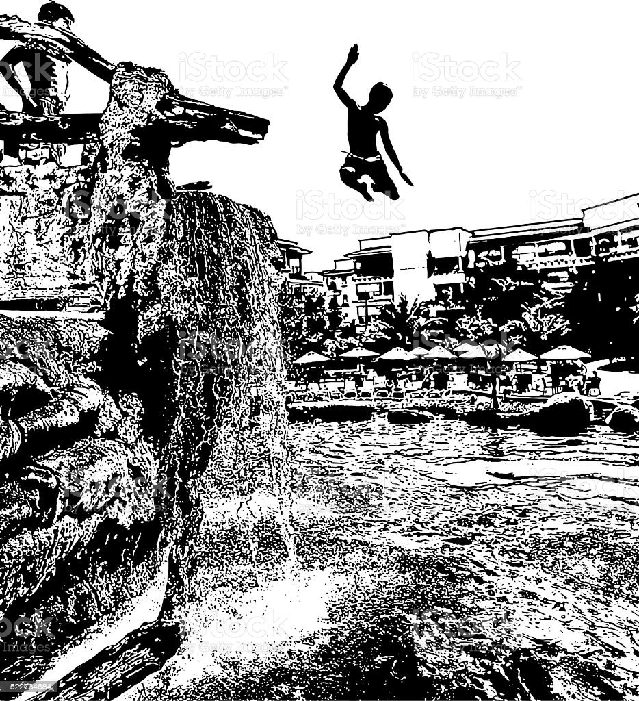 Cliff Diving at a resort swimming pool vector art illustration