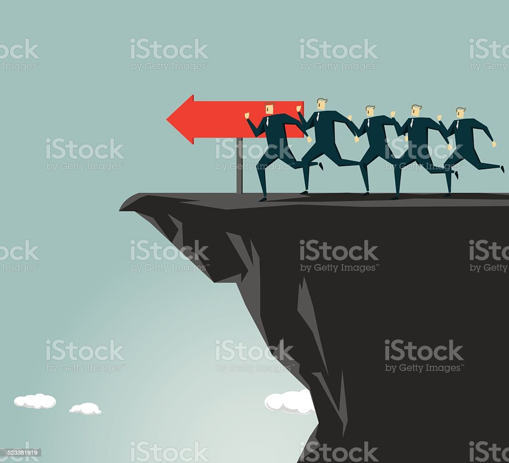 Cliff,Mistake,pitfall,  Direction vector art illustration