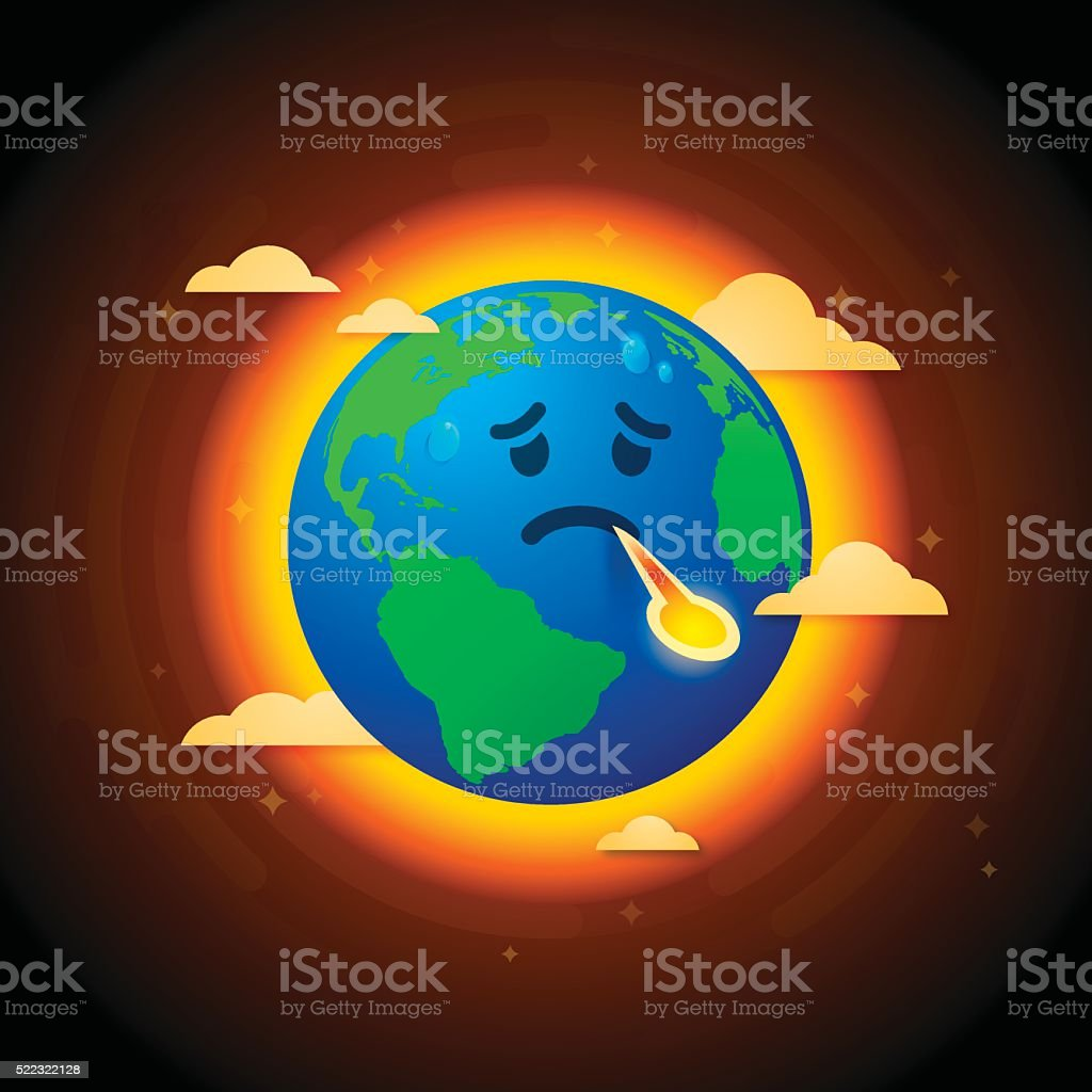 Climate Change Sick Earth vector art illustration