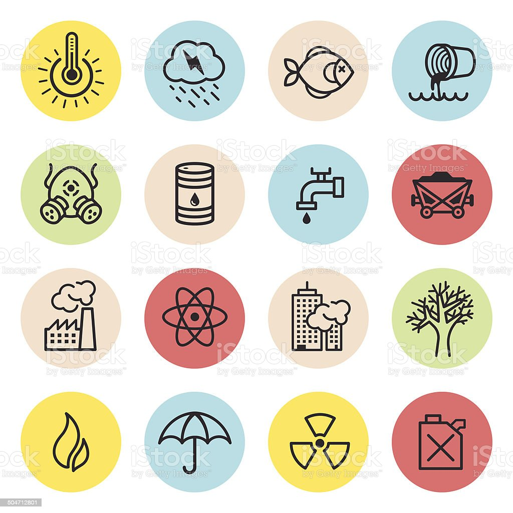 Climate Changes Icon Set vector art illustration
