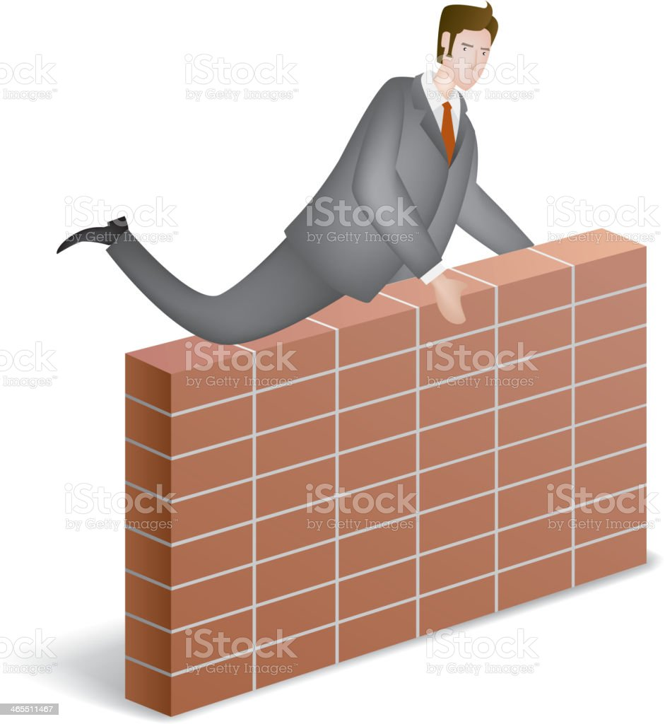 Climb over the wall vector art illustration