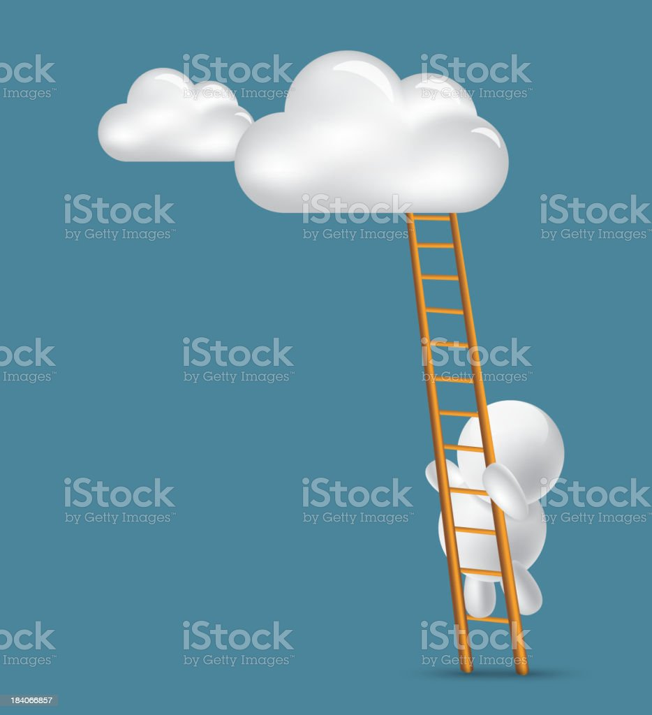 Climb to the clouds above royalty-free stock vector art