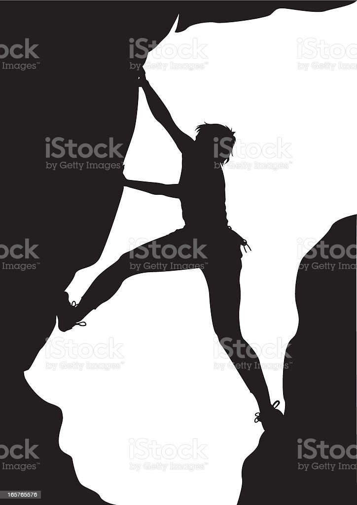 Climber on Rock in Silhouette royalty-free stock vector art