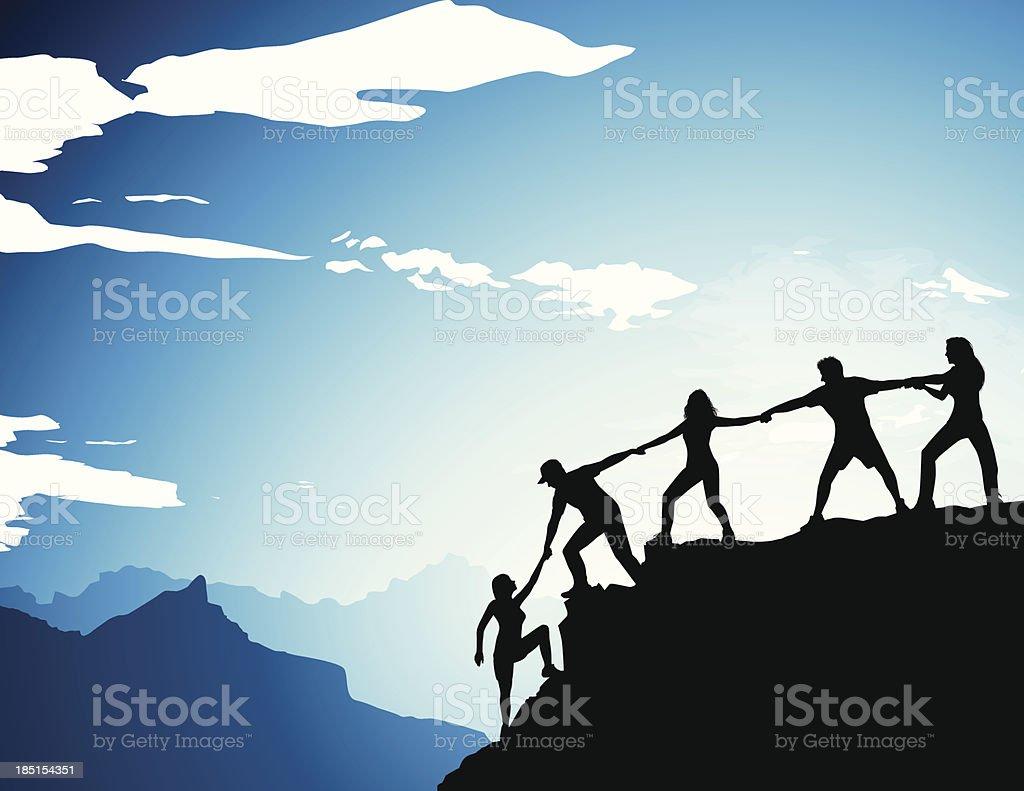 Climber Team vector art illustration