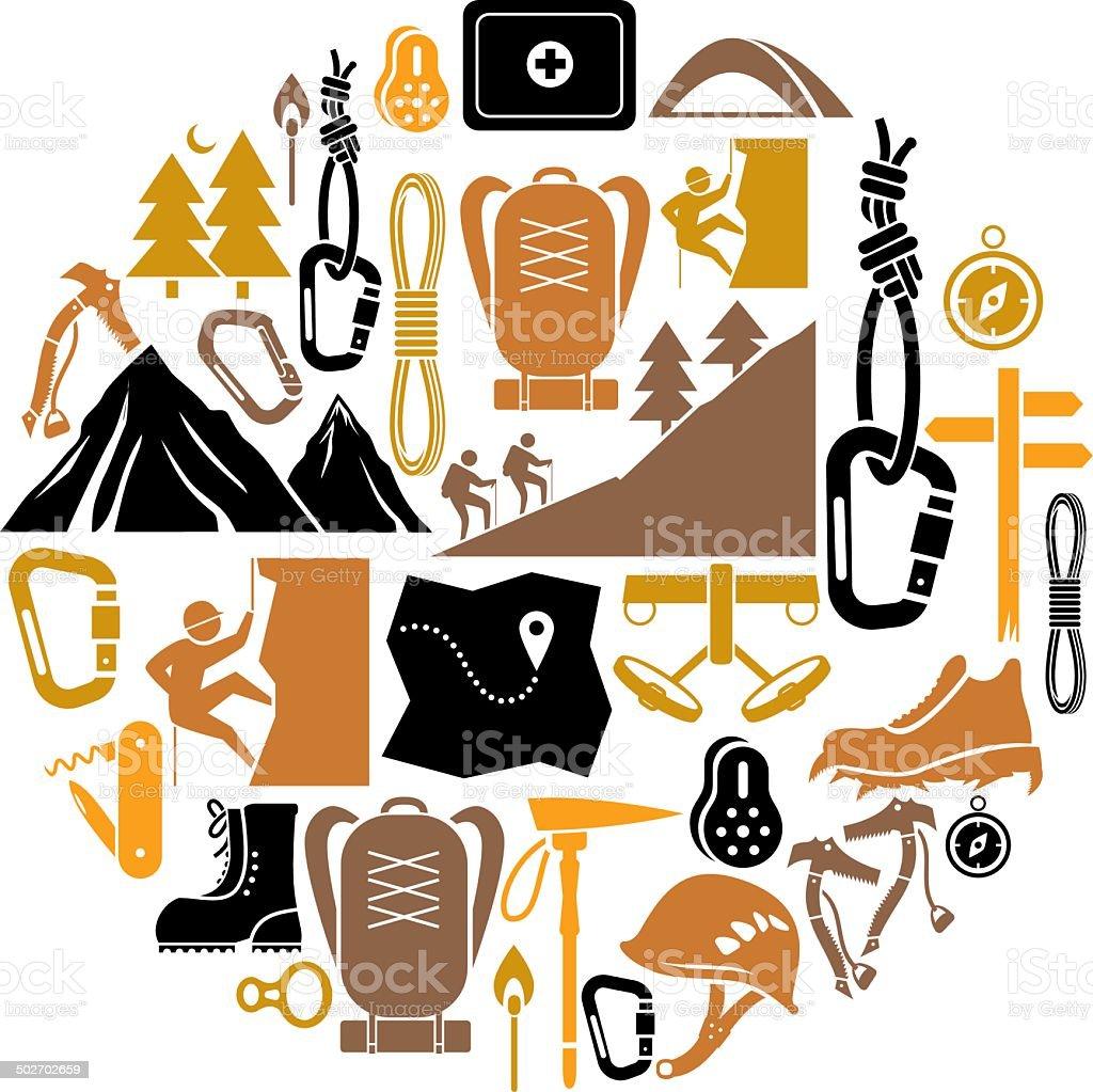 Climbing and Hiking Icon Set vector art illustration