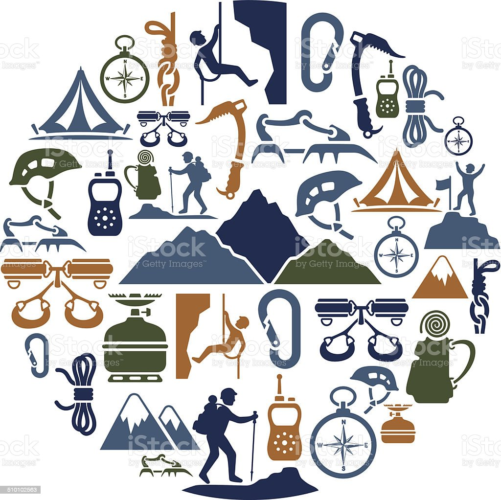 Climbing Collage vector art illustration