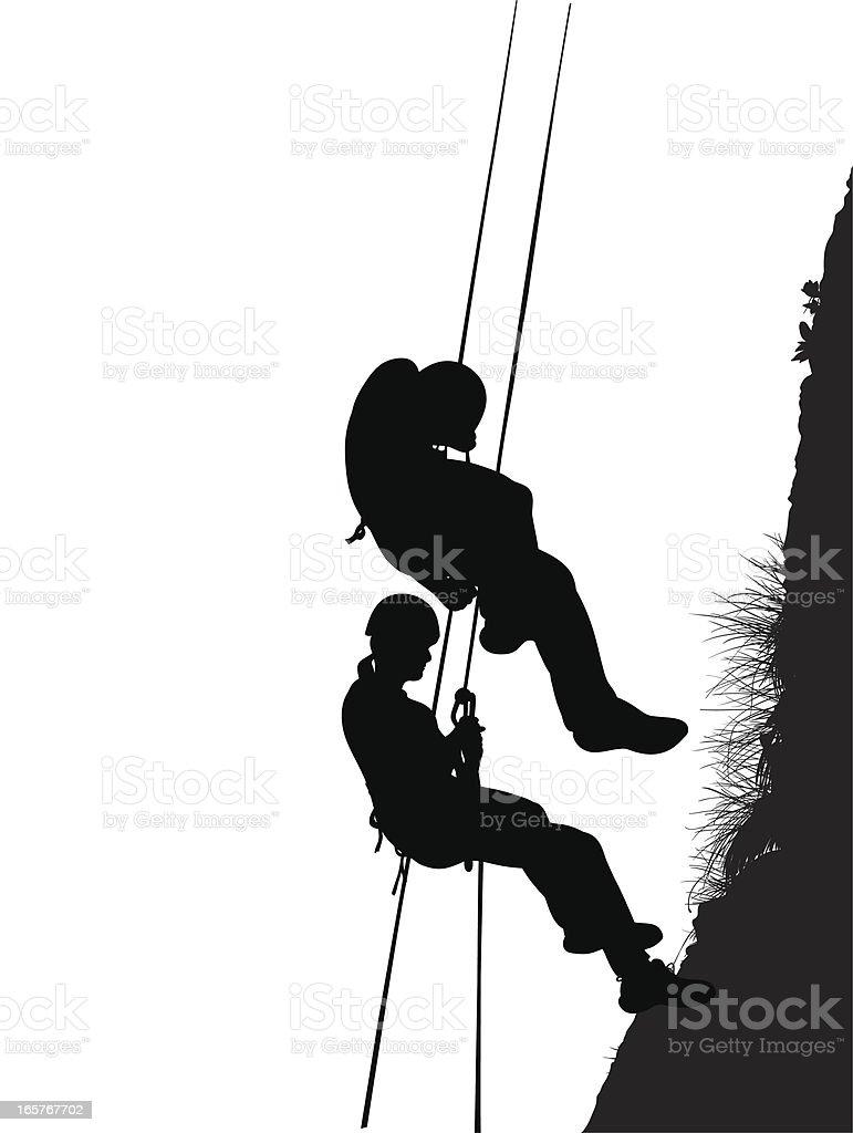 Climbing duo vector art illustration