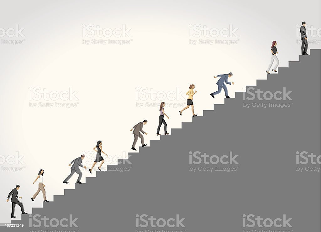 climbing high stair. vector art illustration