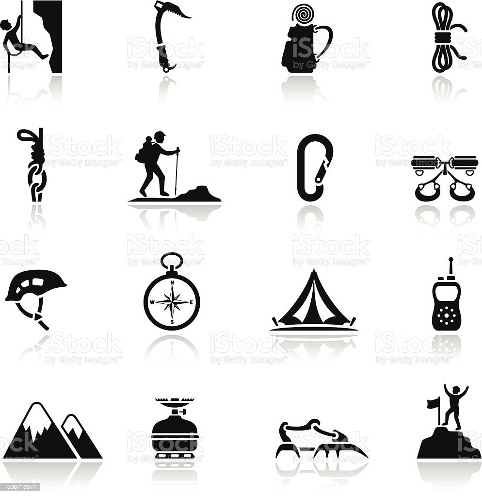 Climbing Icon Set vector art illustration
